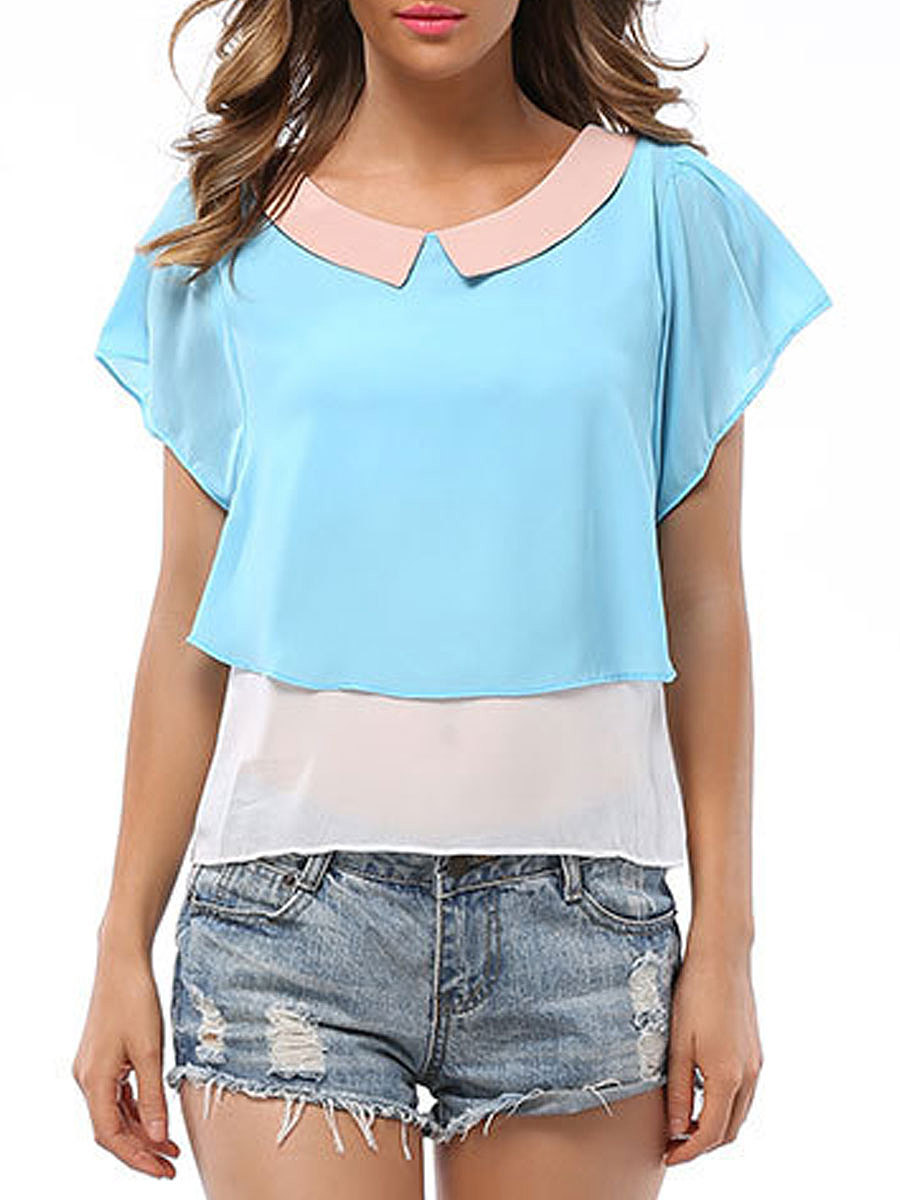 Summer  Polyester  Women  Doll Collar  Color Block  Batwing Sleeve  Short Sleeve Blouses