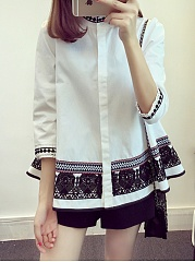 Button Down Collar  Tribal Printed Blouses
