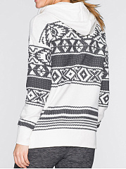 Casual Striped Printed Drawstring Hoodie