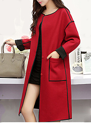 Lapel Contrast Trim Patch Pocket Woolen Longline Coat