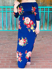 Open Shoulder  Printed Plus Size Midi  Maxi Dress