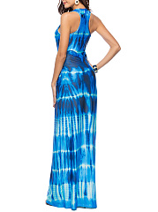 Round Neck  Printed  Polyester Maxi Dress