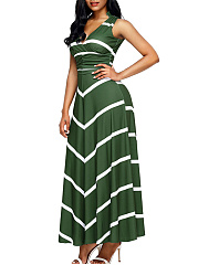 Deep V-Neck Striped Maxi Dress