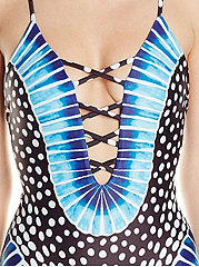 Backless  High Stretch  Abstract Print Bohemian Polka Dot One Piece