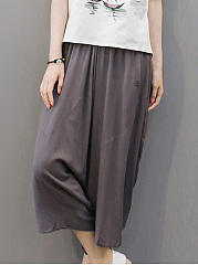 Plain Pocket Cropped Wide-Leg Casual Pants
