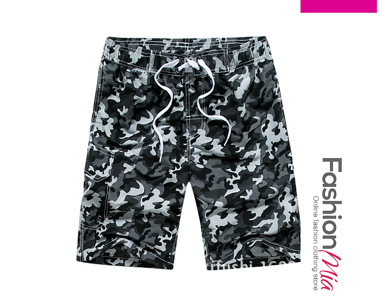 Image of Flap Pocket Camouflage Straight Mid-Rise Board Shorts