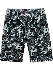 Flap Pocket  Camouflage  Straight  Mid-Rise Board Shorts