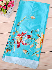 Trumpet Flower Printed Silk Square Scarf