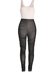 Scoop Neck Patchwork See-Through Remarkable Plain Slim-Leg Jumpsuit