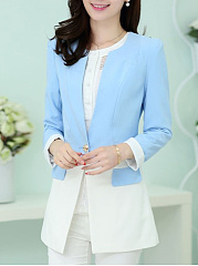 Round Neck  Decorative Button Single Button  Colouring  Long Sleeve Blazers