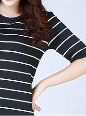 Round Neck  Belt  Striped Shift Dress