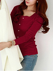 Sweet Heart Decorative Button Plain Long Sleeve T-Shirt