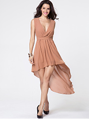 Deep V-neck Plain Removable Tie Dip Hem Evening Dress