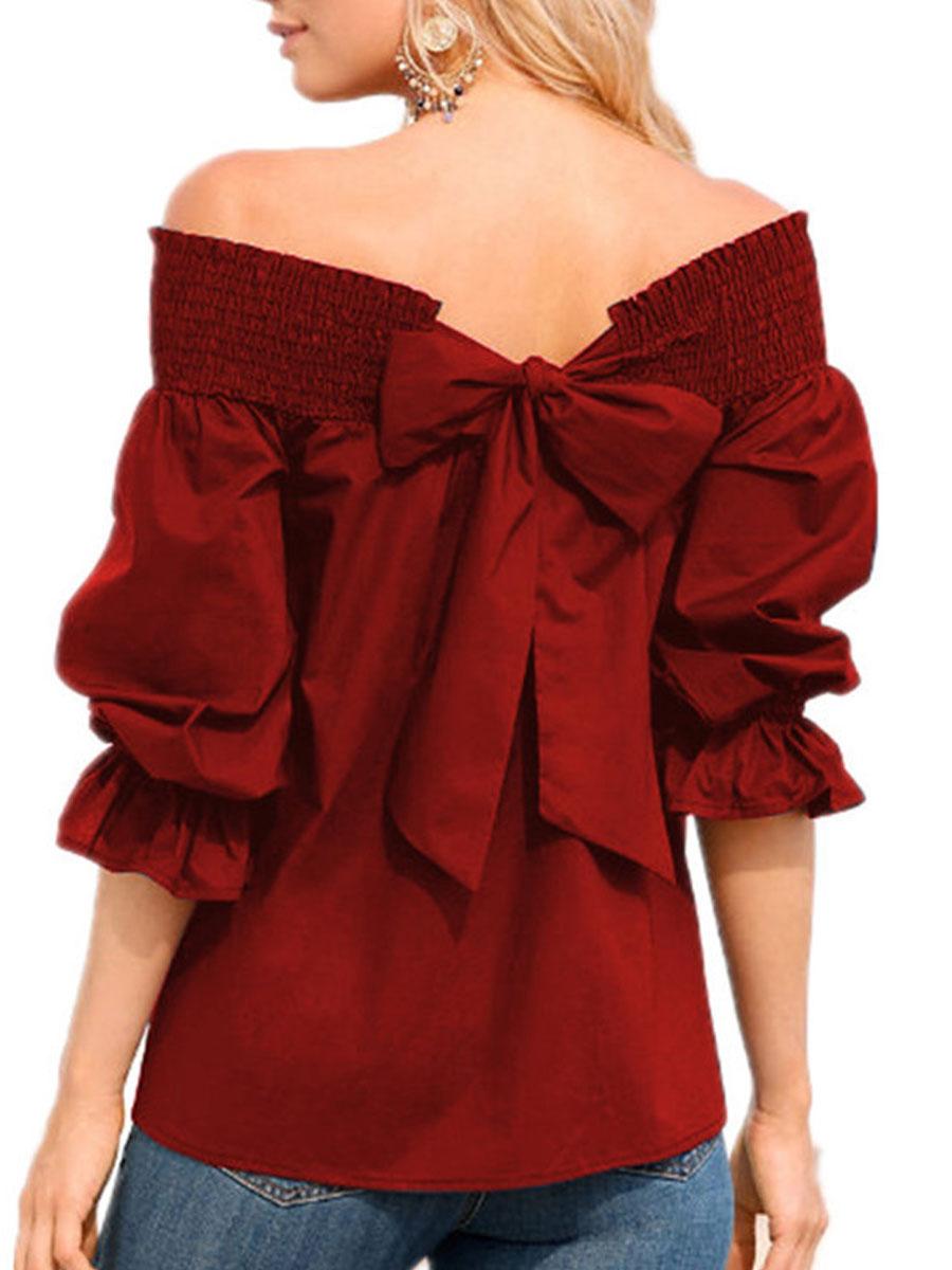 Spring Summer  Polyester  Women  Open Shoulder  Bowknot  Plain  Three-Quarter Sleeve Blouses