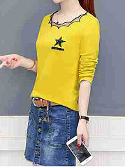 Autumn Spring  Polyester  Women  Round Neck  Glitter  Star Long Sleeve T-Shirts
