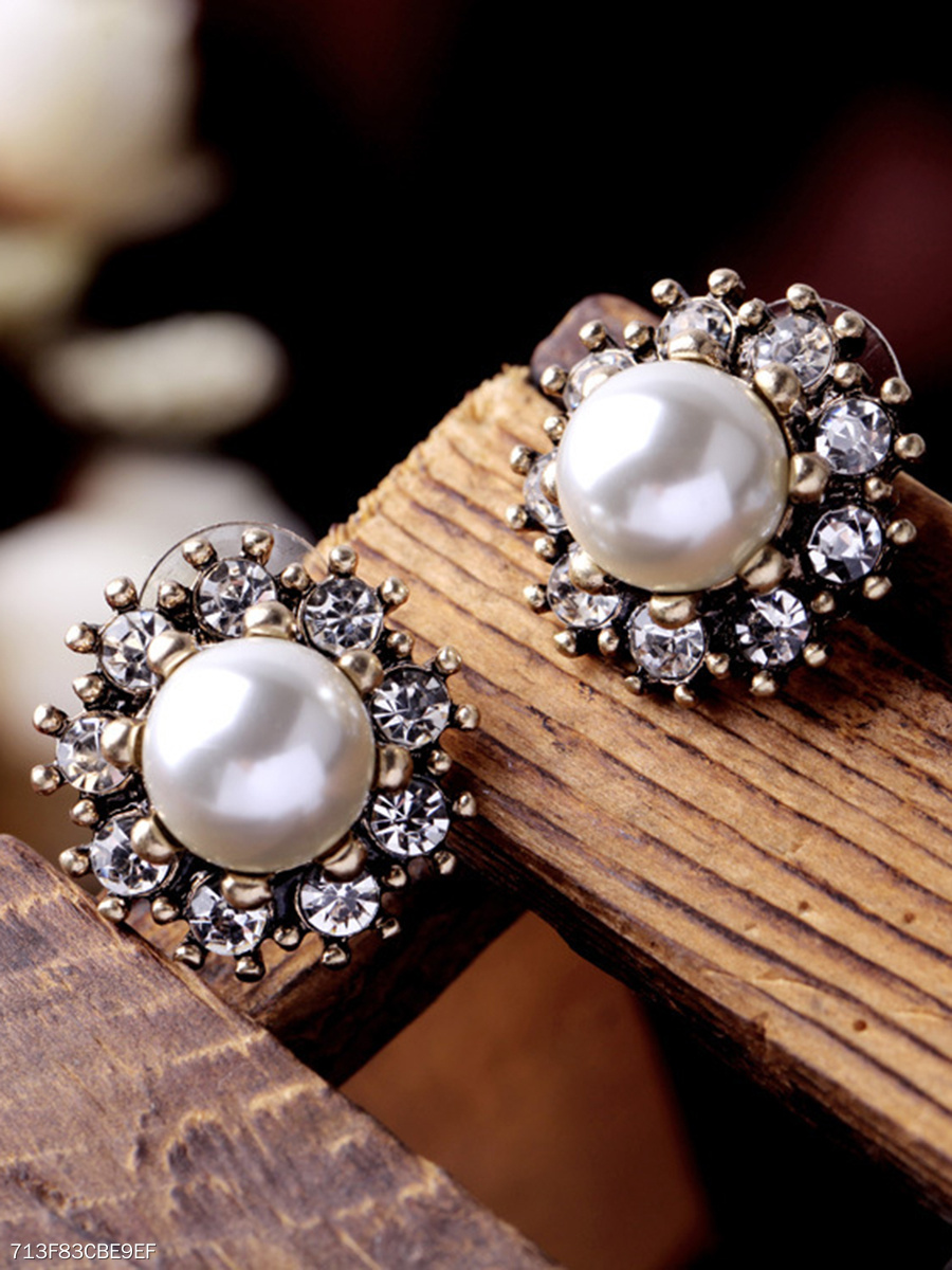 Faux Beads Rhinestone Stud Earrings