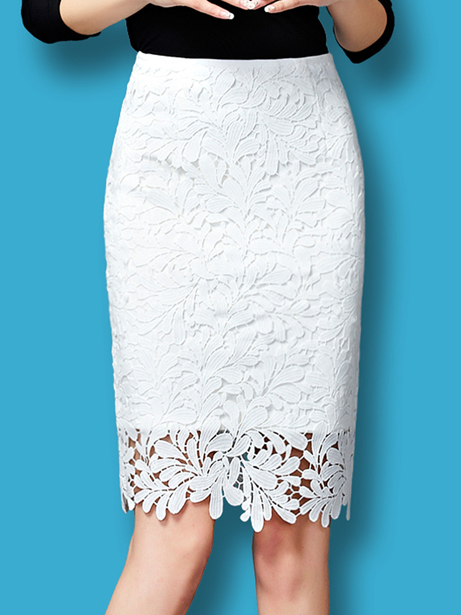 Lace Hollow Out Plain Straight Midi Skirt