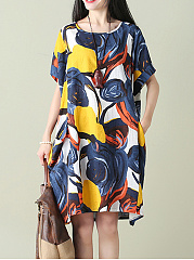 Color Block Printed Round Neck  Pocket   Shift Dress