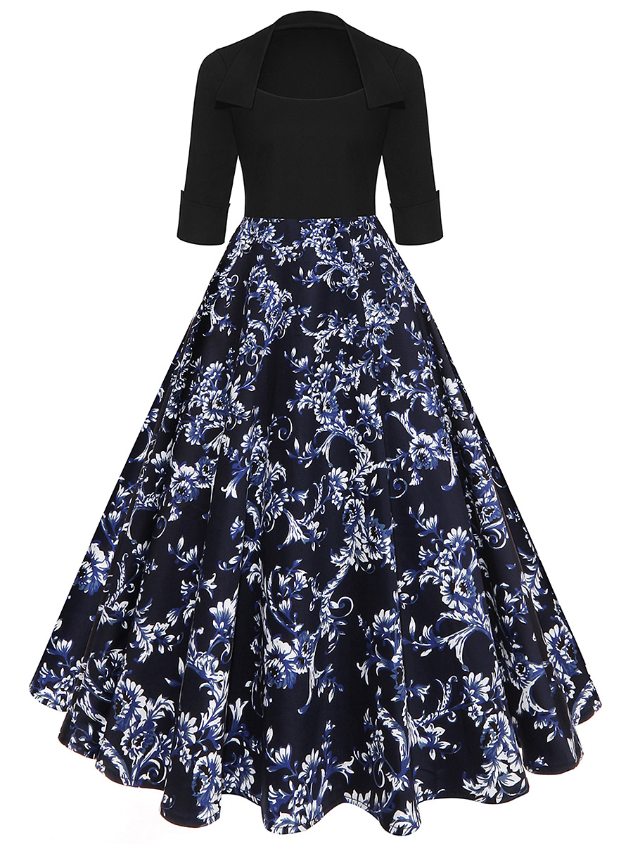 Graceful Printed Midi Skater Dress