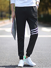 Striped Pocket Slim-Leg Men's Casual Pants