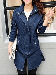 Lapel Denim Flap Pocket Plain Coat