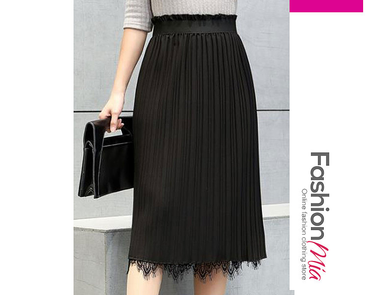 Two Sides Decrotive Lace Plain  A-Line Knee-Length Skirts For Women