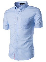 Fitted Patch Pocket Plain Men Shirts
