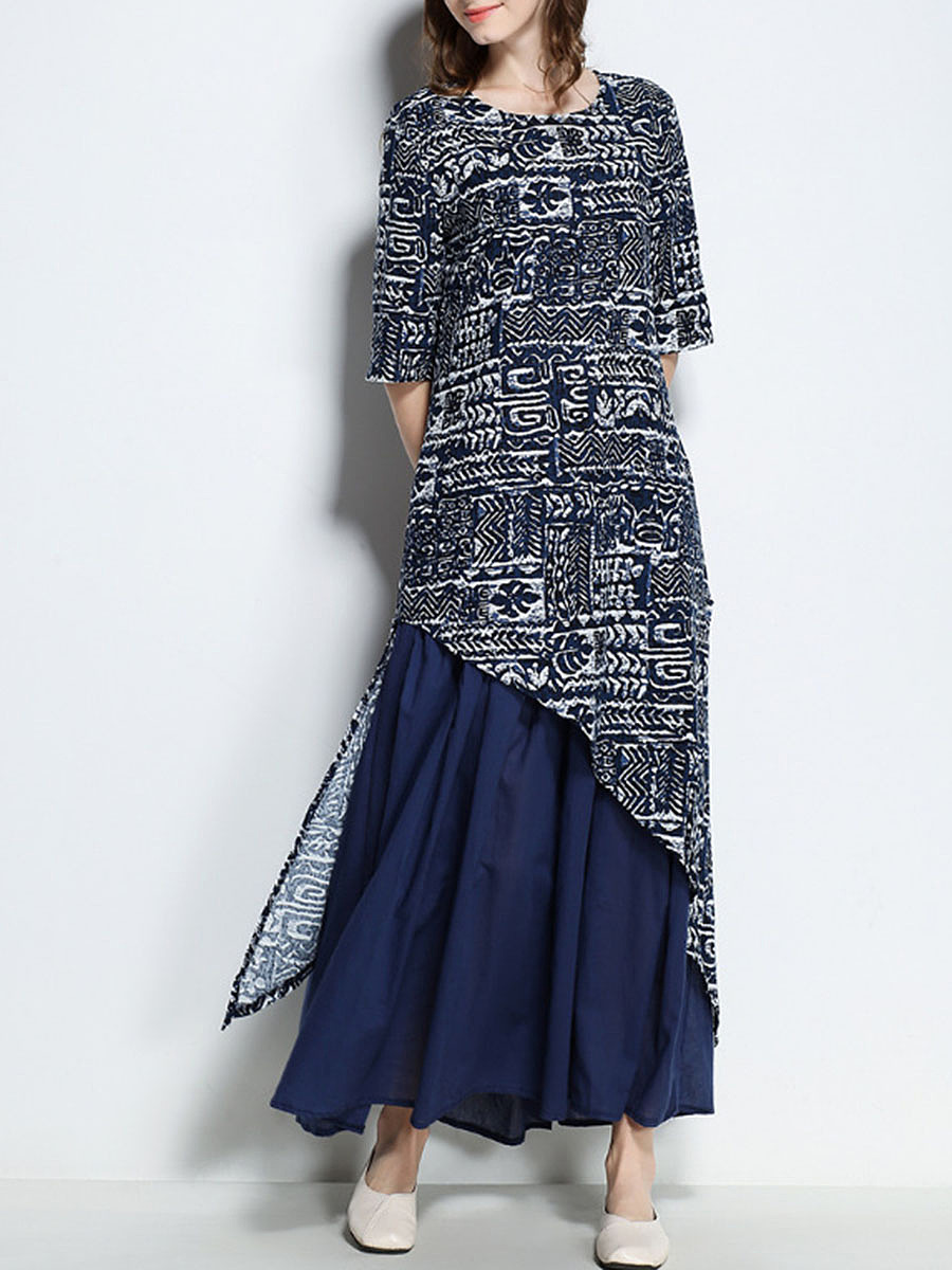 Special Loose Printed Round Neck Maxi Dress