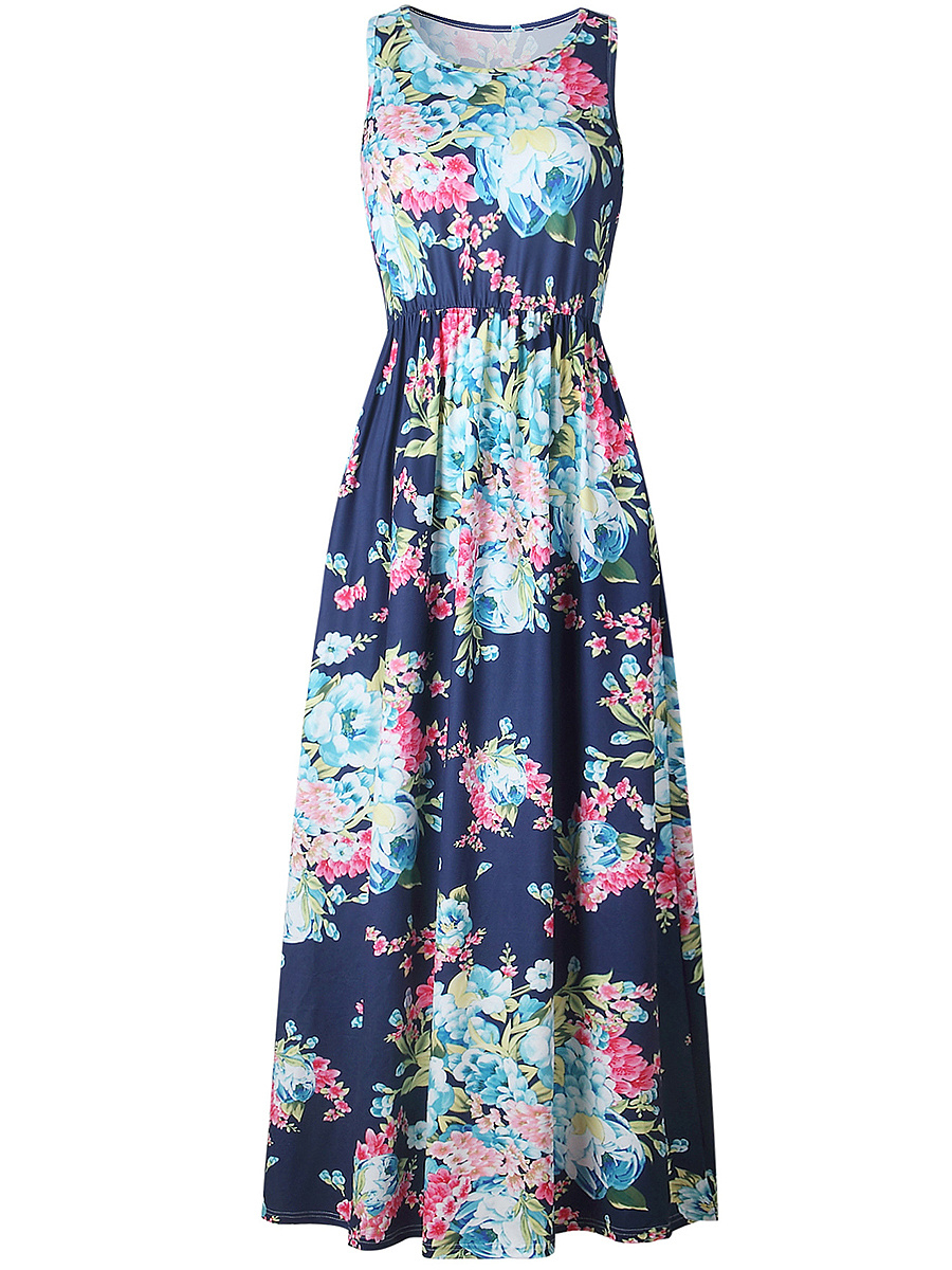 Round Neck Racerback Floral Printed Maxi Dress