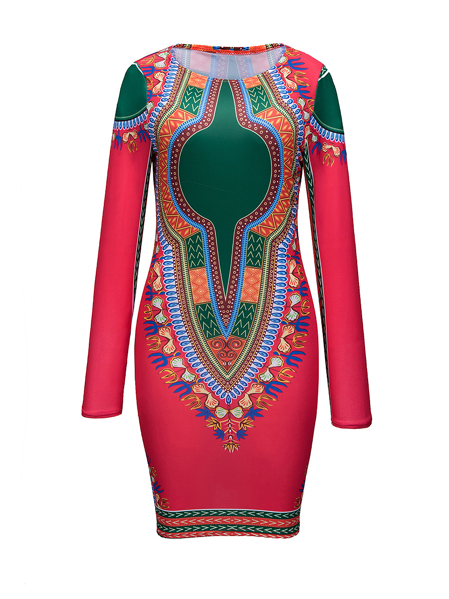 Round Neck tribal Printed long-sleeve Bodycon-dress
