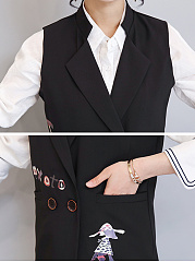 Fold-Over Collar  Plain  Sleeveless Blazers