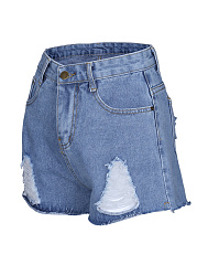 Distressed Mid-Rise Denim Short With Raw Hem