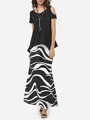 Color Block  Mermaid Maxi Skirt