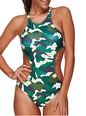 Camouflage One Piece Swimwear For Women