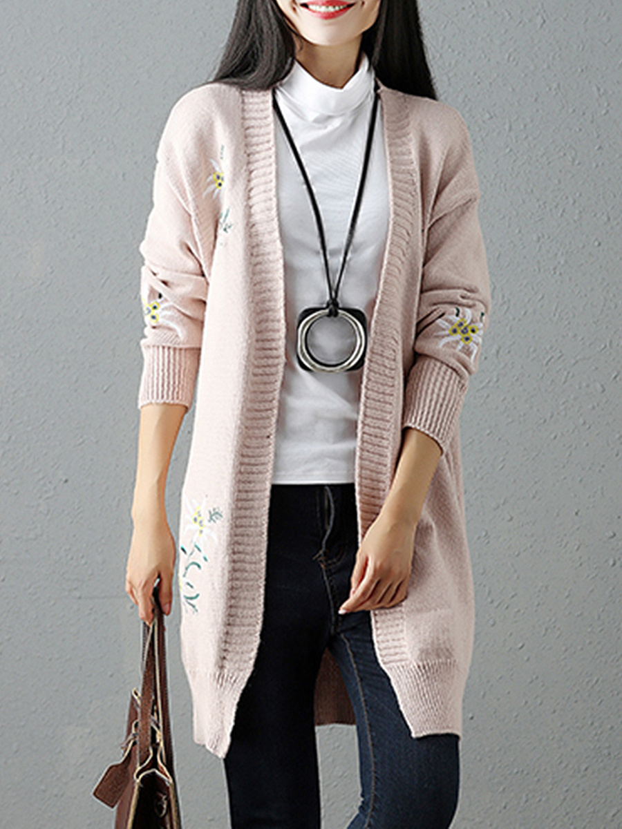 Collarless Embroidery Longline Cardigan