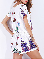 Floral Butterfly Printed T-Shirt And Elastic Waist Pocket Short
