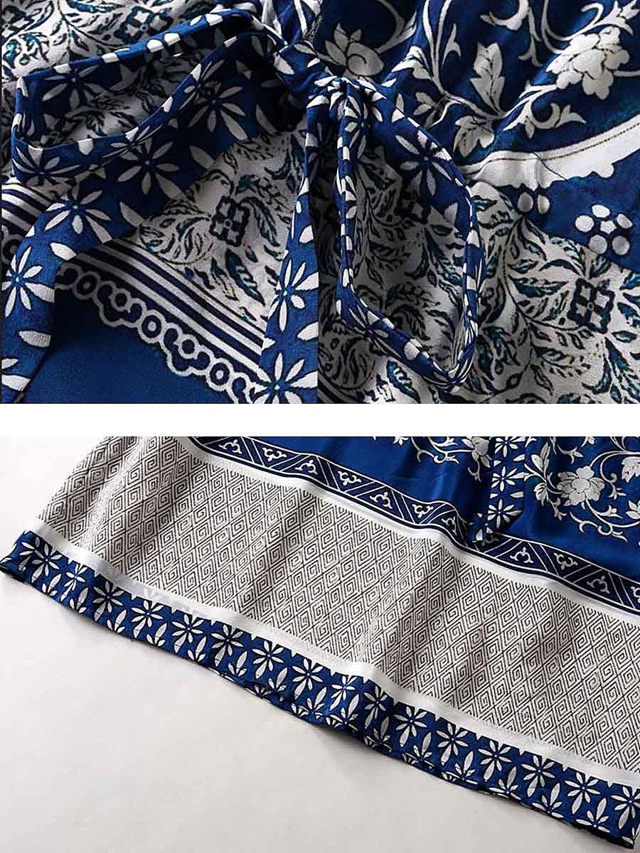 Drawstring Printed Bell Sleeve Round Neck Skater Dress