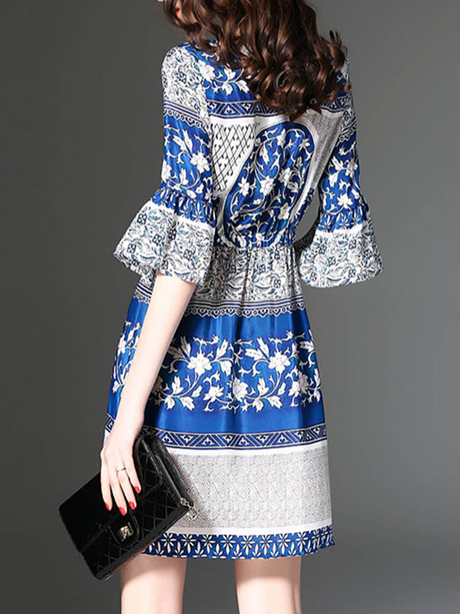 Drawstring Printed Bell Sleeve Round Neck Skater Dress
