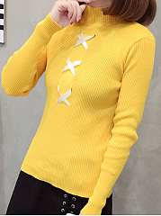 Round Neck  Drawstring  Plain  Long Sleeve Sweaters Pullover