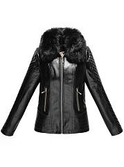 Detachable-Faux-Fur-Collar-Plain-PU-Leather-Jacket