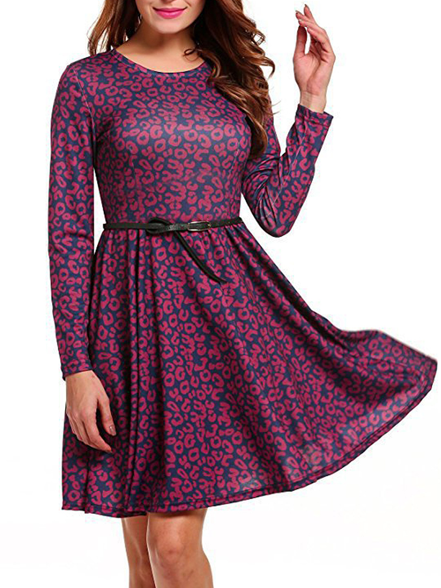 Round Neck Leopard Skater Dress