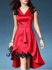 V-Neck-Decorative-Lace-Plain-Polyester-Evening-Dresses