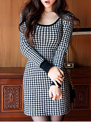 Sexy Houndstooth Scoop Neck Mini Bodycon Dress
