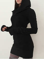 Hooded Plain Mini Bodycon Dress