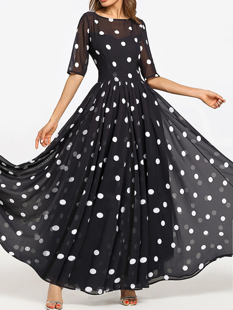 Round Neck  Ruffled Hem  Printed Maxi Dress