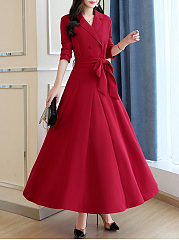 Shawl Collar  Belt  Plain Maxi Dress