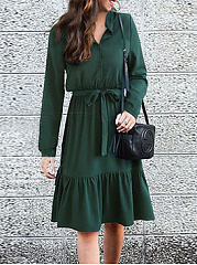 Band Collar  Decorative Button  Plain Skater Dress