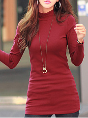 Autumn Winter  Women  Plain Long Sleeve Long T-Shirts