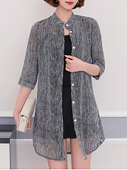 Single-Breasted-Snap-Front-Striped-Kimono