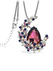 Moon Shape Imitated Crystal Pendant Long Necklace